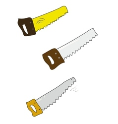 Set of colored handsaw on white vector image