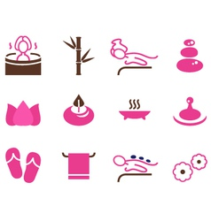 Set of female spa icons isolated on white vector image