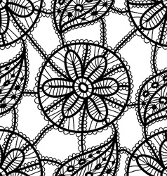 Lace seamless pattern with black flowers and vector