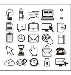 Set of black icons on white background vector