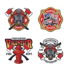 Set of firefighter emblems vector image