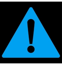 Warning flat blue color icon vector