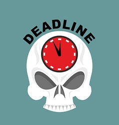 Deadline skull with a clock not enough time vector