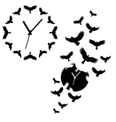Clock with flying birds vector