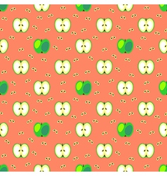 Seamless fruits pattern with grin apples vector