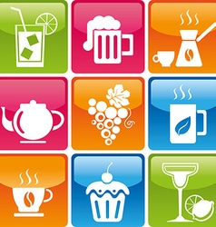 Food drinks icons vector