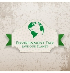 World environment day earth badge and ribbon vector