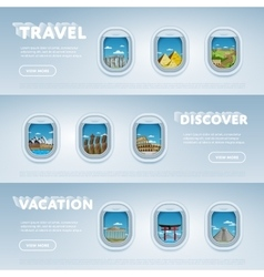 Travel the world monument concept vector