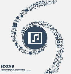 Audio mp3 file icon sign in the center around the vector