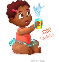 Zodiac sign aquarius african american cute girl vector