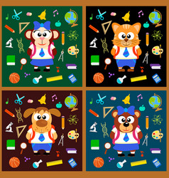 Back to school background set with animals vector