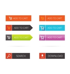 Buttons flat set add to cart search vector