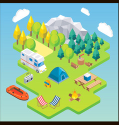 camping isometric concept in vector image vector image