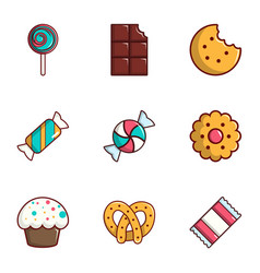 Candy icons set flat style vector