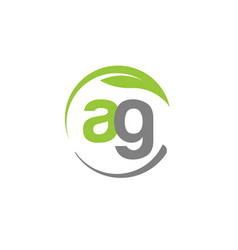creative letter ag with circle green leaf logo vector image