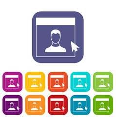 Cursor point man on monitor icons set vector
