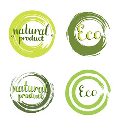 eco set with circle frames design elements label vector image