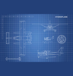 engineering blueprint of plane hydroplane vector image vector image