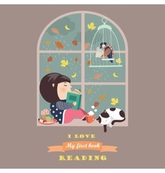 Girl reading by the window vector image vector image