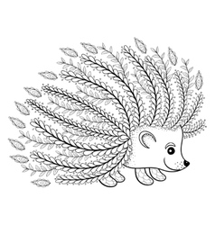Hand drawn artistic hedgehog for adult coloring vector