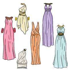 hand drawn beautiful greek dresses vector image vector image