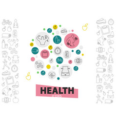 healthy lifestyle line icons collection vector image vector image