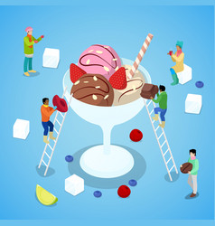 Isometric people making ice cream with chocolate vector