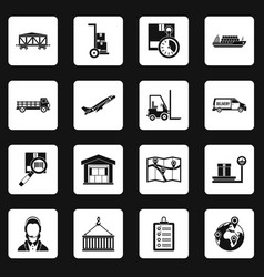 Logistic icons set squares vector