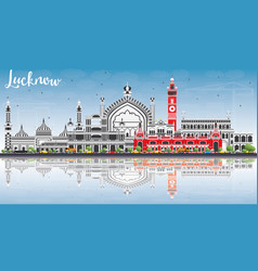 Lucknow skyline with gray buildings blue sky and vector