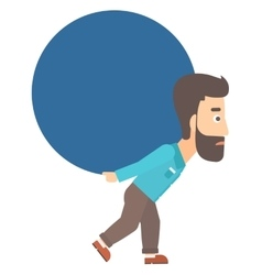 Man carrying big ball vector
