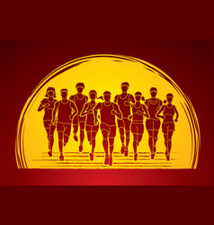 Marathon runners group of people running vector