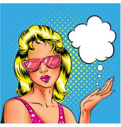 pop art woman in pink sunglasses vector image vector image