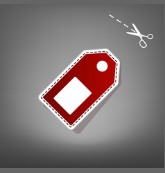 Price tag sign red icon with for applique vector