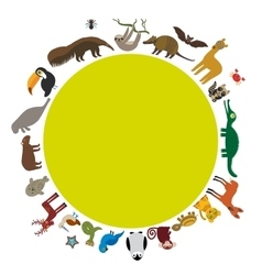 Round frame sloth anteater toucan lama bat seal vector