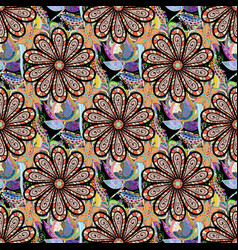 seamless pattern with hand drawn doodle flowers vector image