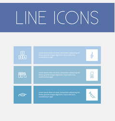 set of 6 editable science outline icons includes vector image vector image