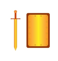 Set of sign shield rectangle and sword gold 1705 vector image vector image