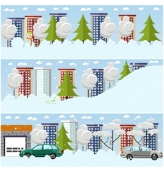 Set of winter cityscape concept design vector