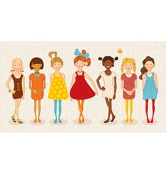 seven girls set vector image vector image