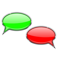 speech bubbles red and green communication 3d vector image vector image