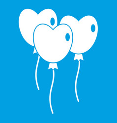 Three balloons in the shape of heart icon white vector