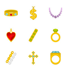 women jewelry icon set flat style vector image