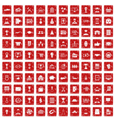 100 business career icons set grunge red vector