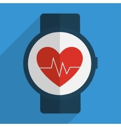 Heart with pulse inside clock of fitness concept vector