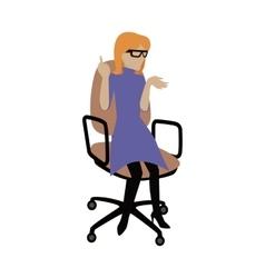 Woman sitting on armchair vector