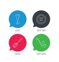 Soup ladle glass and whisk icons vector