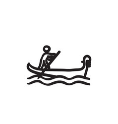 Sailor rowing boat sketch icon vector