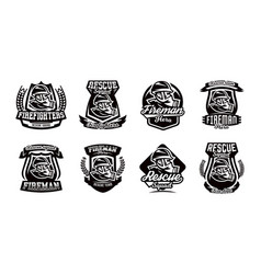 a set of logos emblems a fireman in a gas mask vector image