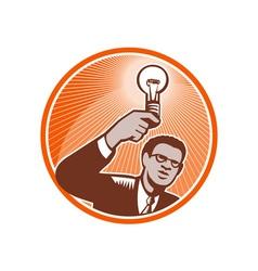 Businessman holding lightbulb woodcut vector