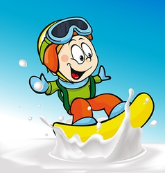 Funny boy cartoon surfing on milk splashing wave - vector